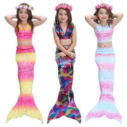 New Kids Girls 3Pcs Mermaid Tail Swimming Bikini Set Swimwea