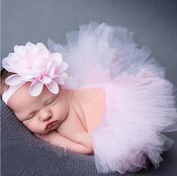Newborn Baby Kid Girl Flower Headband+Tutu Skirt Photo Costu