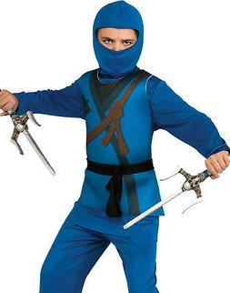 Ninja Boys Karate Kid Blue Hooded Scarf Halloween Childs Fan