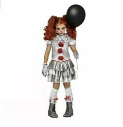 Pennywise IT Halloween Costume Carnevil Clown GIRL Child Kid