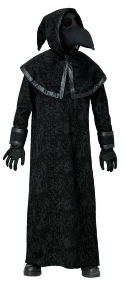 PLAGUE DOCTOR Black Halloween Costume Mask GLoves Boys Mediu