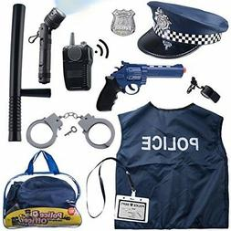 Police Costume for kids with Toy Role Play Kit with Bag Incl