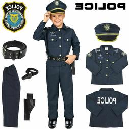 Police Officer Kids Costume Halloween Uniform Outfit Set for