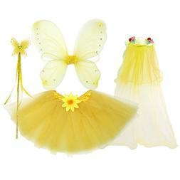 fedio 4Pcs Girls Princess Fairy Costume Set with Wings, Tutu