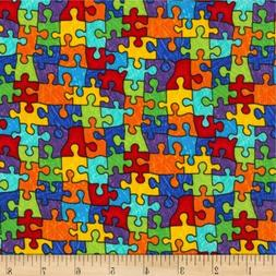Puzzle Pieces Fabric, By the Yard, BTY Cotton, Timeless Trea