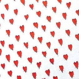 Red Hearts in Stitches Fabric on Ivory by Alma Lynne Hi-Fash