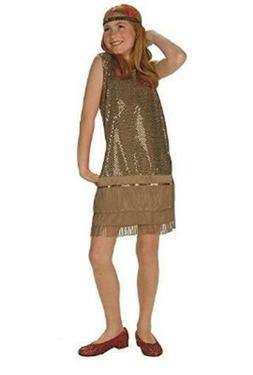 RG Costumes Sequin Flapper Child Large Gold Complete Outfit