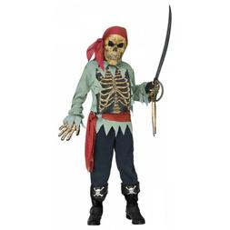 Skeleton Pirate Costume Kids Halloween Fancy Dress