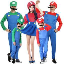 Super Mario Bros Mario Luigi Costume Cosplay Plumber Fancy D