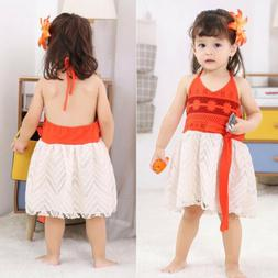 Toddler Baby Moana Princess Girls Tulle Fancy Dress Kids Cos