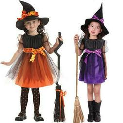 Toddler Kids Baby Girls Witch Costume Clothes Party Dress +