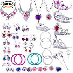 WATINC 54pcs Jewelry Toy,Girl's Jewelry Dress Up Play Set,In