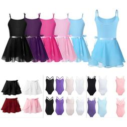 US Child Girls Ballet Dance Dress Leotards+Tutu Wrap Skirt S