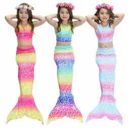 US Kids Girl Mermaid Tail Bikini Set - Swimmable Tail Swimmi