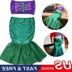 US Stock Girls Kids Mermaid Bikini Swimwear Swimsuit Swimmin