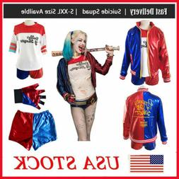 Women Adult Harley Quinn Suicide Squad Coat Shorts Set Hallo